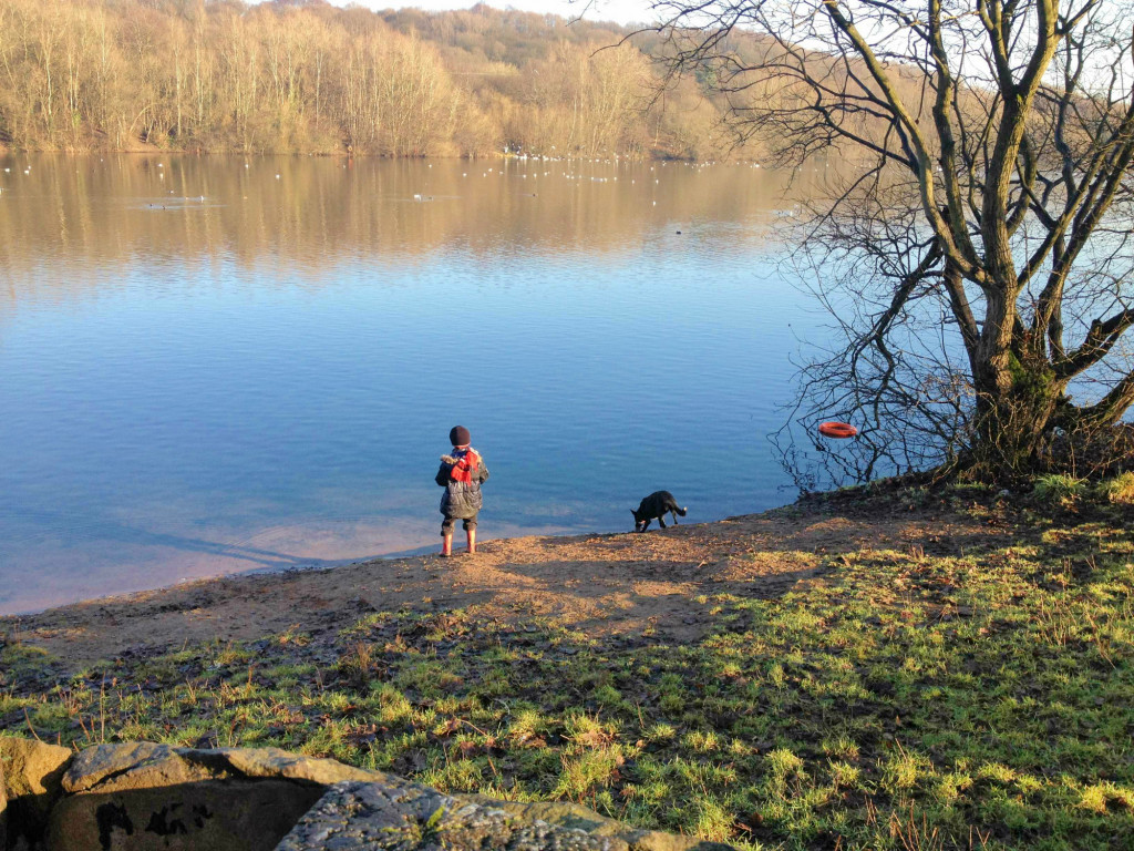 A boy and his dog by the water, Clifton Country Park